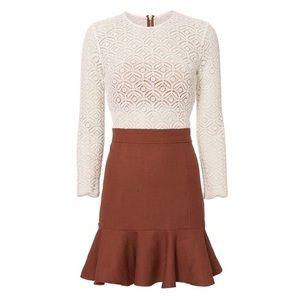 Veronica Beard Bex Combo Dress in White and Rust